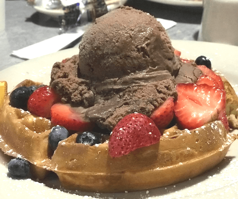 Waffle with ice cream top